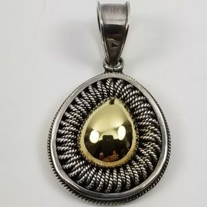 Artisan Crafted Sterling/18k Gold Oval Pendant